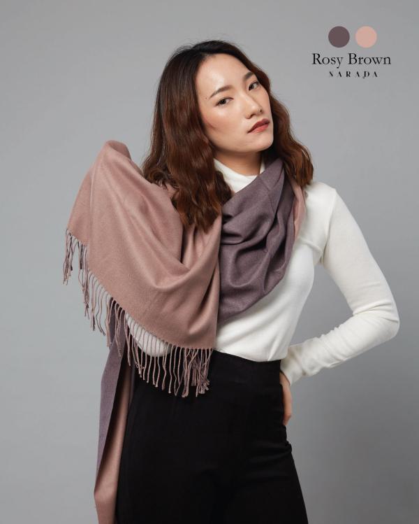 ผ้าพันคอแคชเมียร์ 2 โทน Rosy Brown